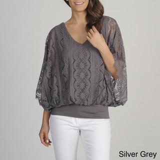 Chelsea & Theodore Women's Lace Banded Hem Top