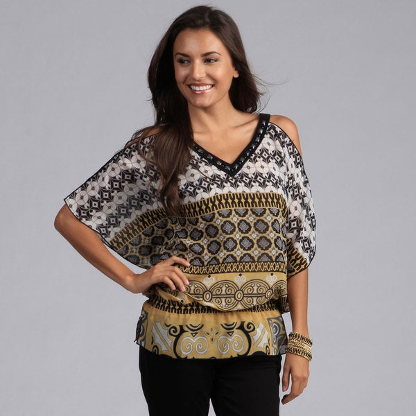 Madison Paige Embellished Cold Shoulder Tunic in Black/ Gold