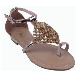 ANNA by Beston Women's 'NORA-1' Gladiator Toe Strap Sandals