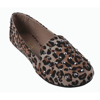 Anna by Beston Women's 'Lily-49' Leopard Studded Slip-on Loafers