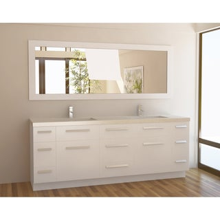 Design Element Moscony 84-inch Double Sink Bathroom Vanity in Pearl White