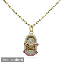 Gioelli Junior Jewels 18k Gold Overlay Children's Pink CZ and Enamel Shoe Necklace