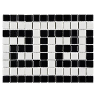 SomerTile 8 x 10.5-inch Victorian Greek Key Matte White and Black Border Porcelain Mosaic Tile (Pack of 10)
