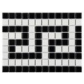 SomerTile 8x10.5-inch Victorian Greek Key Matte White and Black Border Porcelain Mosaic Floor and Wall Tile (Case of 10)