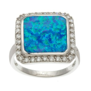 La Preciosa Sterling Silver Cubic Zirconia and Blue Opal Square Ring