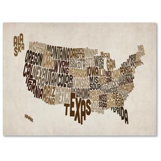 Michael Tompsett 'USA States Text Map 2' Canvas Art
