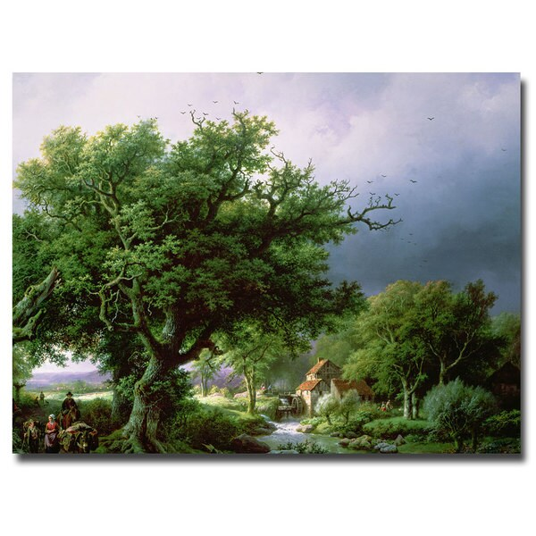 Bernard Cornelis Koekkoek 'Landscape with Mill' Canvas Art