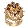 14k Yellow Gold Garnet Lattice Design Estate Ring