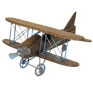Casa Cortes Handcrafted Wooden Bi-Plane Airplane Model Toy