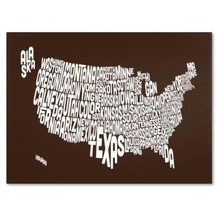 Michael Tompsett 'USA States Text Map in Chocolate' Canvas Art