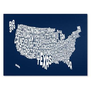 Michael Tompsett 'USA States Text Map in Navy' Canvas Art