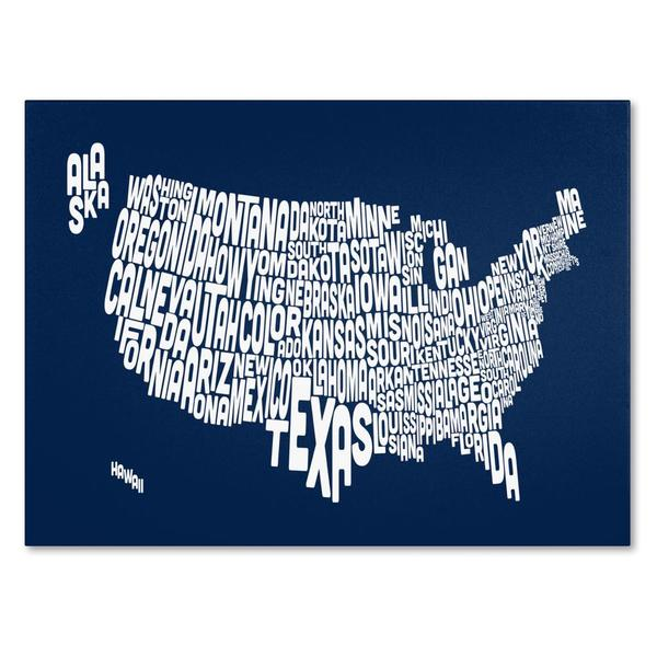 Michael Tompsett 'USA States Text Map in Navy' Canvas Art
