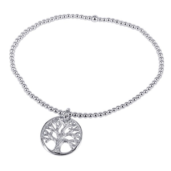 Silver Tree of Life Inspired Elastic Beaded Bracelet (Thailand)