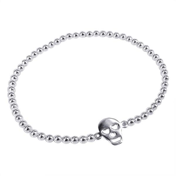 Silver Bead Lovable Skull's Eyes Elastic Bracelet (Thailand)