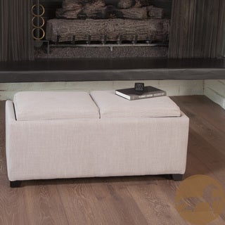 Christopher Knight Home Maxwell Beige Fabric Tray Ottoman