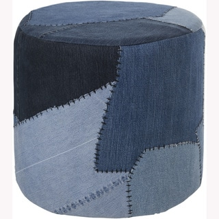 Mandara Handmade Denim Fabric Cylindrical Poufs