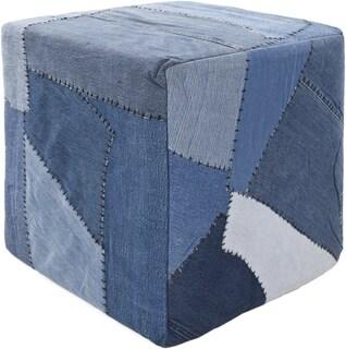Mandara Handmade Cubic Denim Fabric Pouf