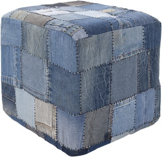 Contemporary Mandara Handmade Denim Fabric Pouf