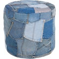 Mandara Handmade Cylindrical Blue Denim Fabric Pouf