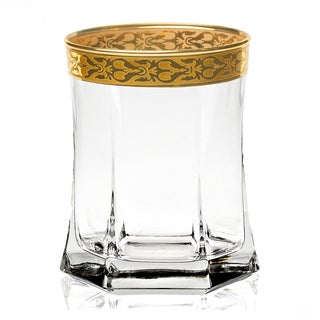 Lorren Home Trends Gold Border Venezia DOF Tumblers (Set of 4)