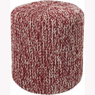 Mandara Handmade Red Cotton Pouf