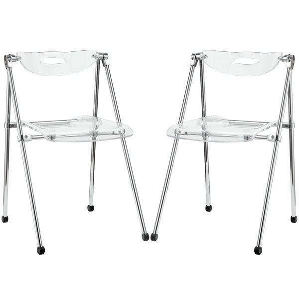 Telescoping Clear Seat/ Back Chairs (Set of 2)