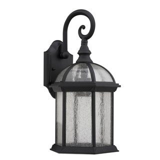 Transitional Black / Clear Seeded Glass 1-light Outdoor Fixture