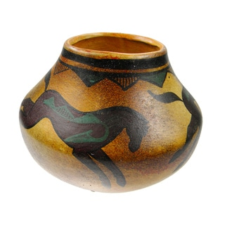 Mexican Pottery Painted Horses Vase Planter (Mexico)