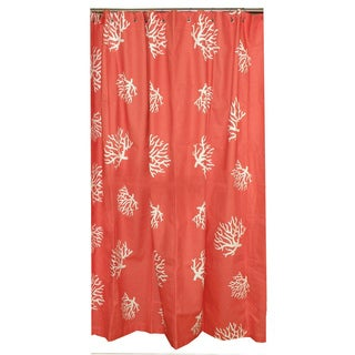 Coral reef cotton shower curtain overstock shopping for Coral reef bathroom decor