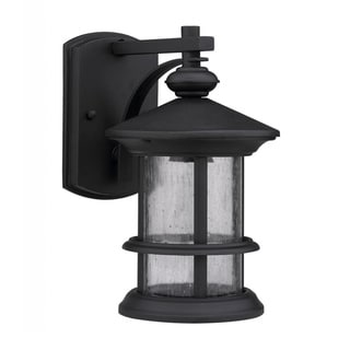 Transitional Black/ Clear Seeded Glass Outdoor 1-Light Lantern Fixture