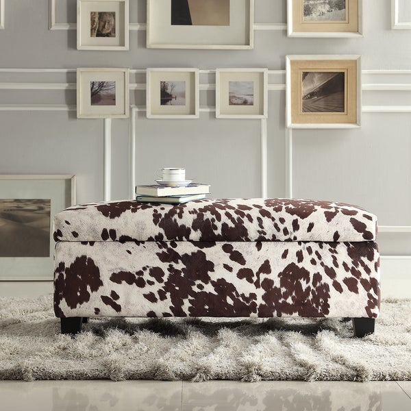 INSPIRE Q Sauganash Cowhide Print Lift Top Storage Bench