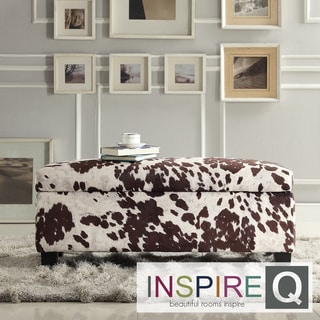 Inspire Q Kayla Cow Hide Fabric Storage Bench Ottoman