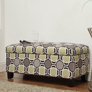 Kayla Polka-dot Style Fabric Storage Bench Ottoman