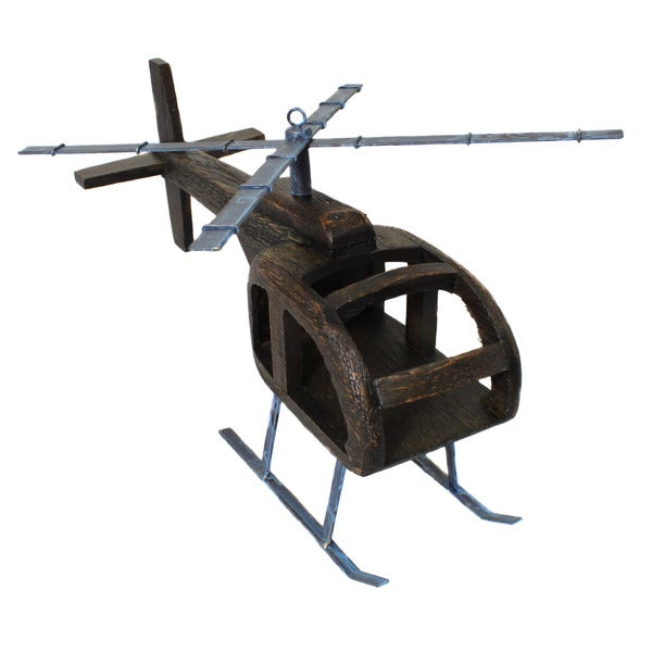 Casa Cortes Handcrafted Wooden Helicopter Model Toy Replica