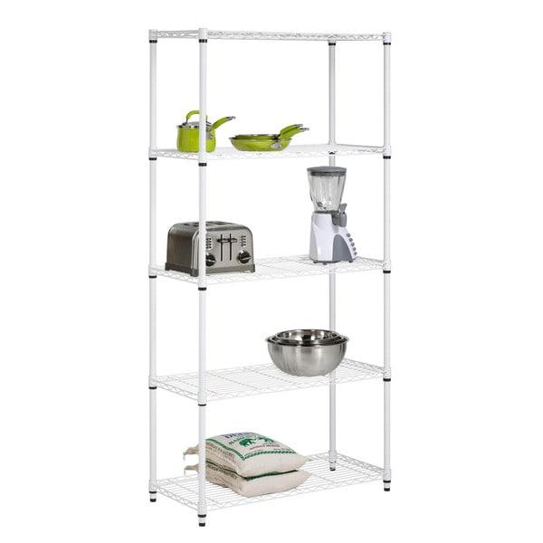 Five Tier White Storage Shelves
