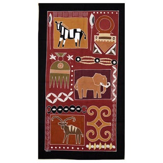 Hand-painted 'Zebra and Elephant' African Tapestry (Zambia)