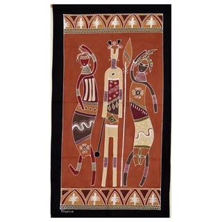 Hand-painted Brown and Black 'Ladies and Warrior' African Tapestry (Zambia)