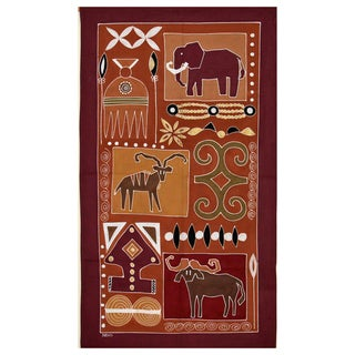 Hand-painted 'Elephant and Antelope' African Tapestry (Zambia)