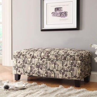 Inspire Q Kayla Fun Geometric Fabric Storage Bench Ottoman