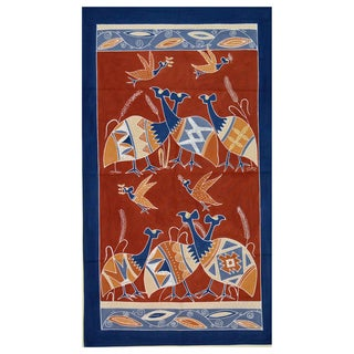 Hand-painted Dark Blue and Brown 'Guinea Fowls' African Tapestry (Zambia)