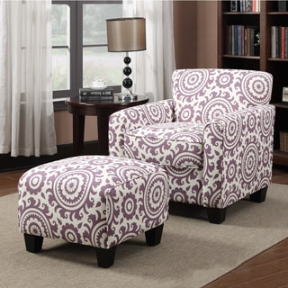 Portfolio Park Avenue Amethyst Purple Medallion Arm Chair and Ottoman