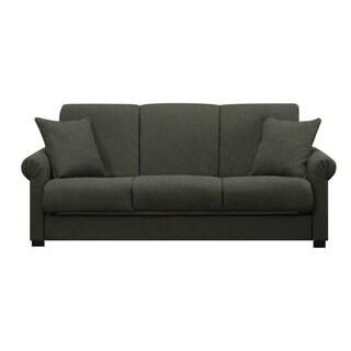 Portfolio Rio Convert-a-Couch Basil Grey Linen Futon Sofa Sleeper