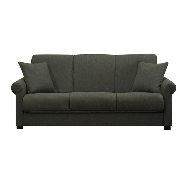 Portfolio Rio Convert-a-Couch Charcoal Gray Linen Futon Sofa Sleeper