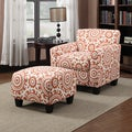 Portfolio Park Avenue Orange Spice Medallion Arm Chair and Ottoman