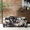 INSPIRE Q Sauganash Black Cowhide Print Lift Top Storage Bench