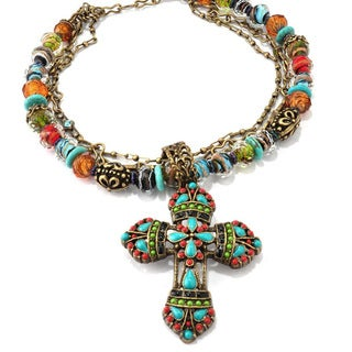 Sweet Romance Bronzetone Crystal Bead and Glass Mayan Cross Necklace