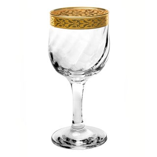Lorren Home Trends Venezia Collection White Wine Glasses with Gold Border (Set of 4)