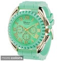Geneva Women's Platinum Japanese Quartz Silicone Watch