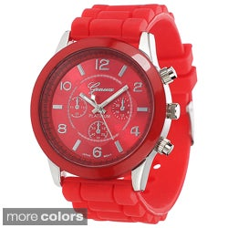 Geneva Women's Colored-Dial Platinum Silicone Watch