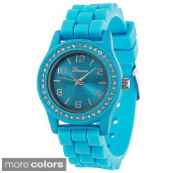 Geneva Women's Platinum Silicone Watch in Pink or Turquoise